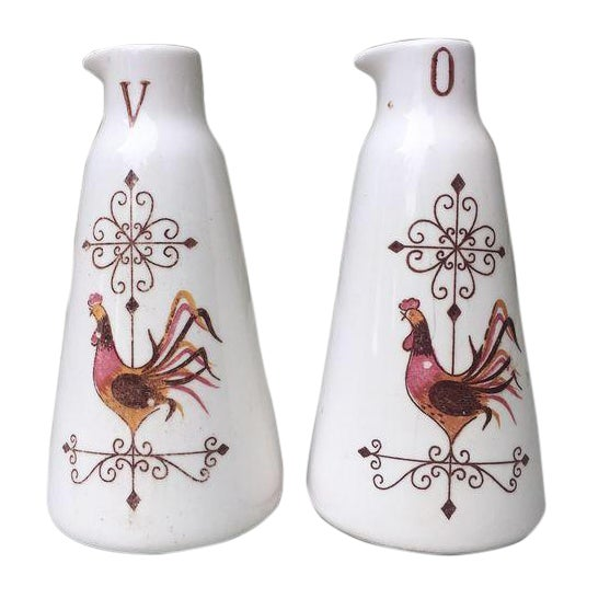 French Country Oil/Vinegar Bottles - Antique Pair - Image 1 of 5