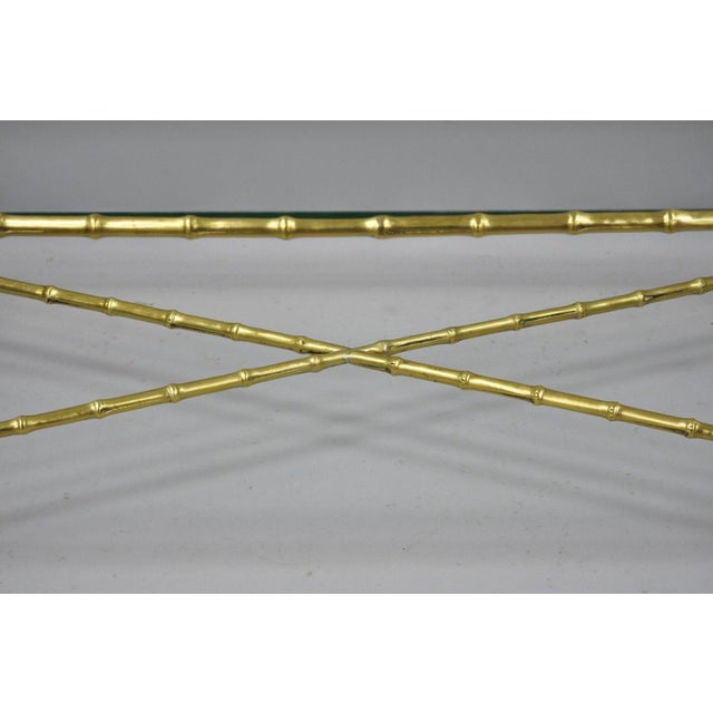 Maison Bagues French Bronze Faux Bamboo Glass Rectangular Coffee / Cocktail Table For Sale In Philadelphia - Image 6 of 11