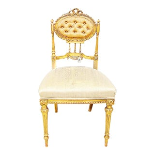 Antique French Parlor Vanity Chair For Sale