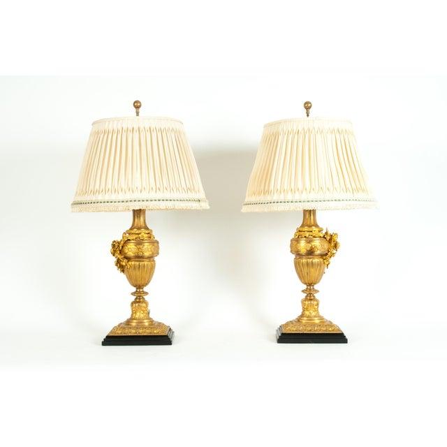 Metal Louis XVI Style Doré Bronze Table Lamps - a Pair For Sale - Image 7 of 13