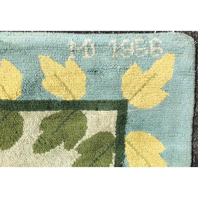 """Hollywood Regency 1950's Signed Hollywood Regency Floral Hook Rug - 133"""" by 124"""" For Sale - Image 3 of 5"""