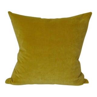 Yellow Velvet Square Throw Pillow For Sale