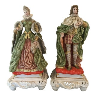 Italian Hand-Painted Bisque Figures - A Pair For Sale