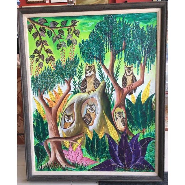 """""""Owls"""" painted by Adam Leontus (Haiti: 1928-1986). Leontus loved the plants and animals of his island home, especially..."""