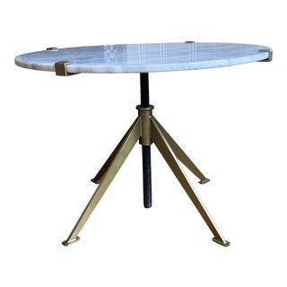 Adjustable Side Table with Antique Brass For Sale