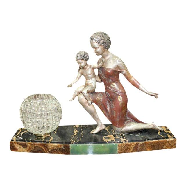 U. Cipriani French Art Deco Lamp Sculpture For Sale