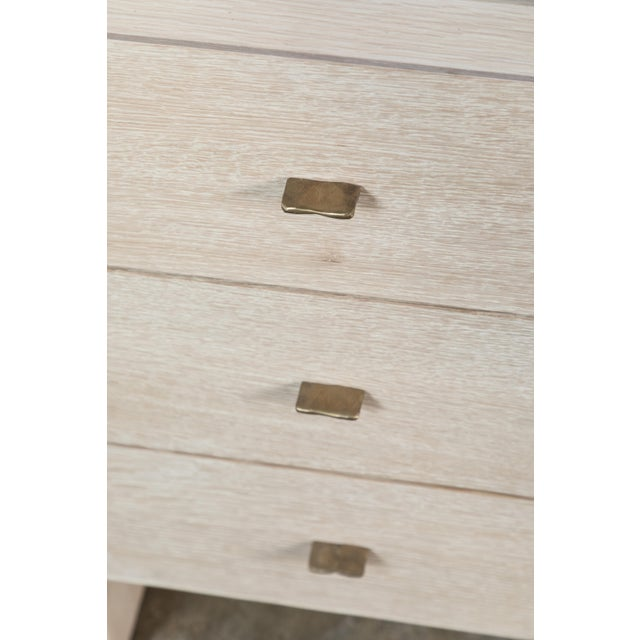 Metal Modern Desk in Bleached Oak with Brass For Sale - Image 7 of 9