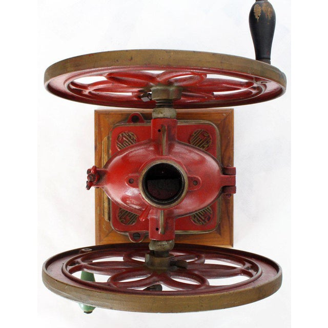 Large Antique Double Cast Iron Wheel Coffee Grinder Fire Red Very Clean For Sale - Image 10 of 12