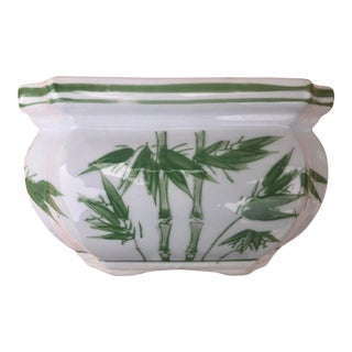 Hand Painted Green Bamboo Ceramic Jardiniere Cachepot For Sale