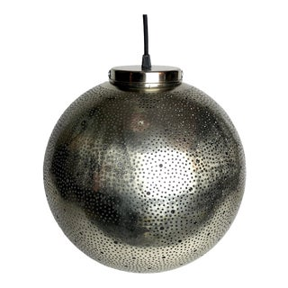 Moroccan Perforated Metal Pendant Light For Sale