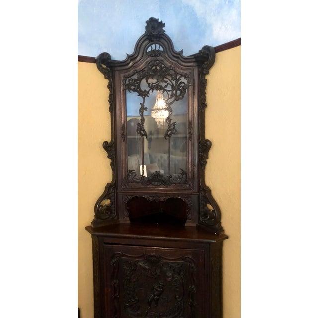 Antique Carved Italian Corner Cabilet w Cupid Door
