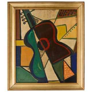 1956 Cubist Guitar Mixed Medium on Board Painting by Jean Lacoste For Sale