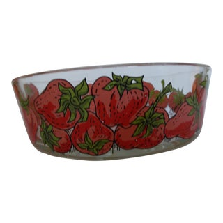 Vintage French Elaine Glass Strawberry Bowl For Sale