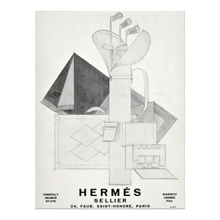 Matted 1928 Vintage Art Deco Hermes Advertisement Print for the Golfer