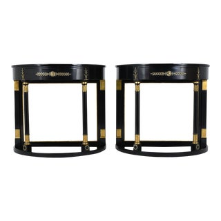 Empire-style Ebonized Demilune Console Tables - a Pair