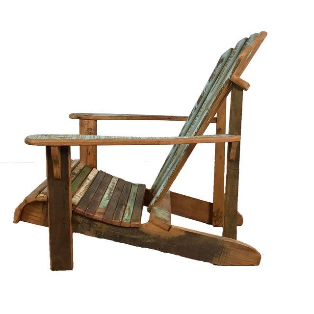 Contemporary Indoor/Outddor Coastal Chair Distressed Reclaimed Wood For Sale - Image 3 of 4