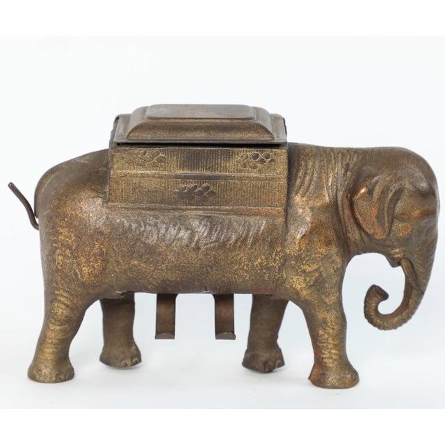 Gold Antique Art Deco Cast Iron Elephant Cigarettes Holder and Dispenser For Sale - Image 8 of 8