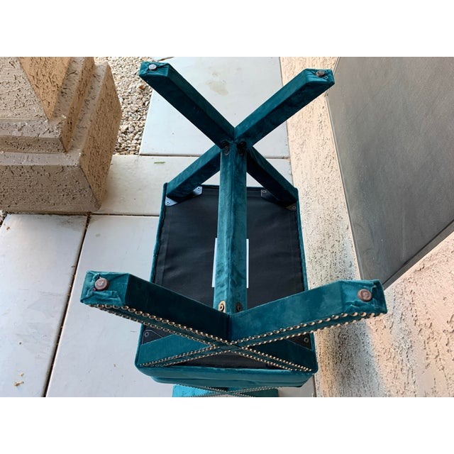 Teal Velvet X Form Bench Seats - a Pair For Sale In Phoenix - Image 6 of 7