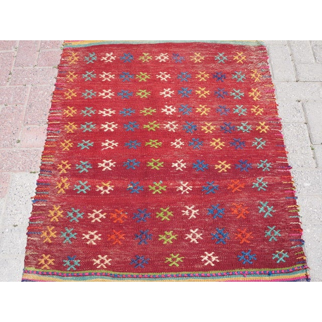 Vintage Turkish Kilim Rug - 3′ × 3′8″ - Image 4 of 8