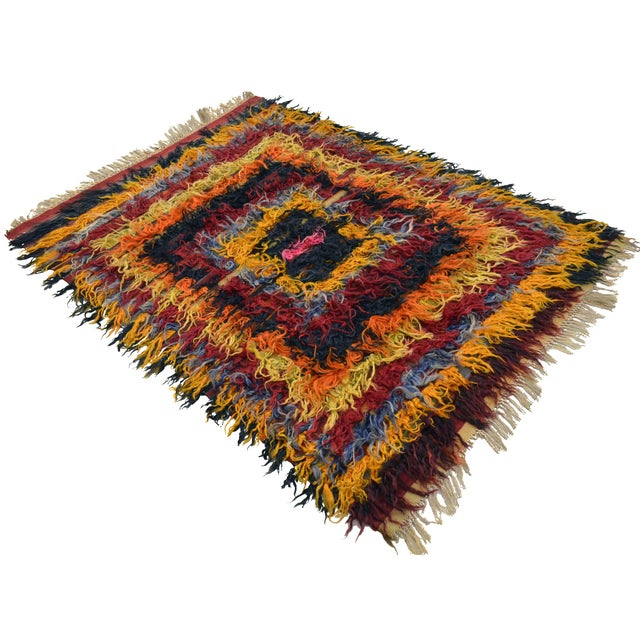 Antique Turkish Oushak Shaggy Mohair Tulu Rug - 4′6″ × 6′3″ - Image 1 of 10