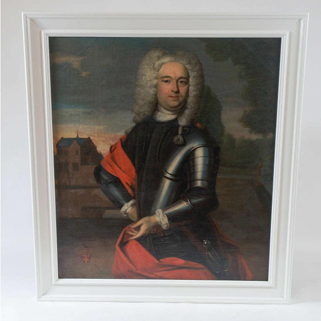 Exceptional quality oil on canvas portrait painting of a bewigged Dutch statesman in armour having architectural...
