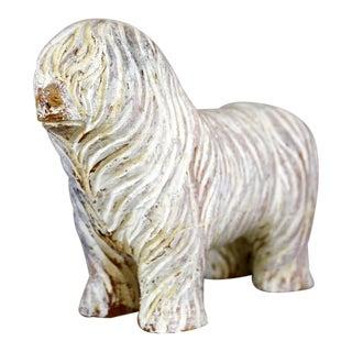 Vintage Hand-Carved Wood Havanese Dog Figurine For Sale