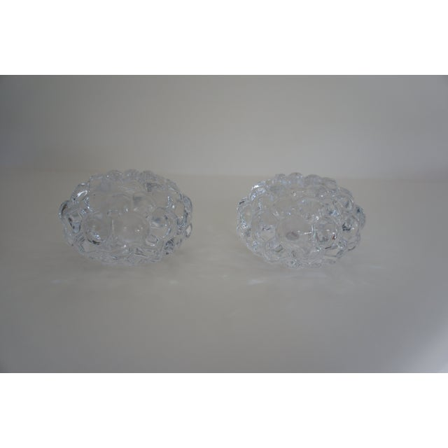 Orrefors Orrefors Sweden Raspberry Votive Crystal Candle Holders - A Pair For Sale - Image 4 of 4