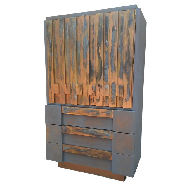 Mid-Century Modern Lane Brutalist Tall Dresser For Sale