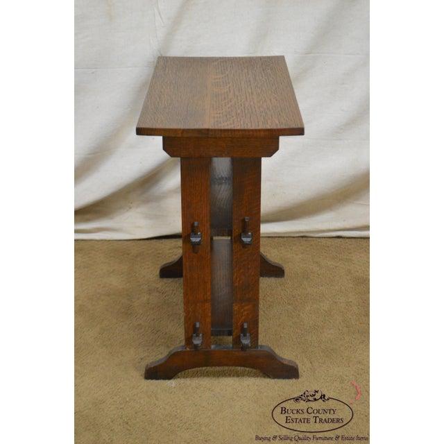 "Oak Roycroft ""The Roycrofters"" Arts & Crafts Mission Oak Little Journeys Book Stand For Sale - Image 7 of 13"