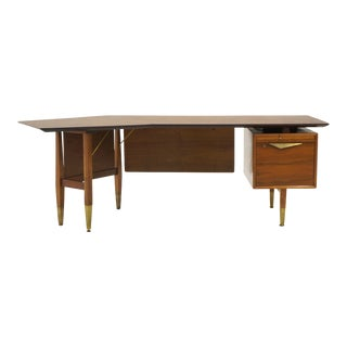 Danish Modern Desk, Large Asymmetrical Walnut Top, Cane Modesty Panels For Sale