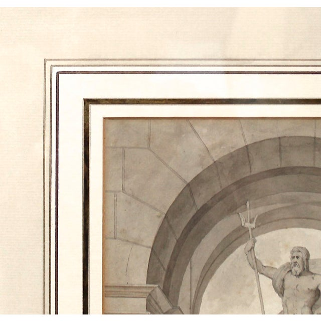 Gray 1838 Palazzo Torlonia, Rome Grisaille Neptune Fountain Watercolor Painting For Sale - Image 8 of 11