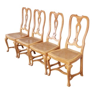 Baker Furniture French Provincial Louis XV White Oak and Cane Dining Chairs, Set of Four For Sale