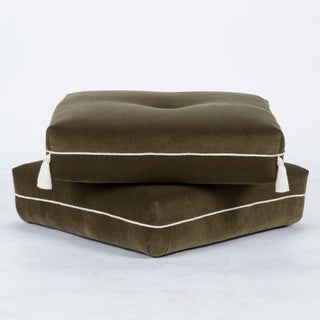 Casa Cosima Turkish Ottoman in Olive Velvet, a Pair Preview