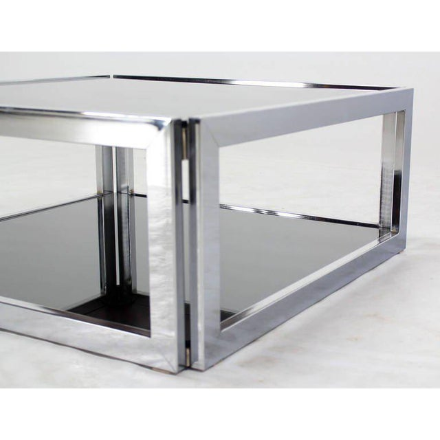 Mid-Century Modern Square Chrome & Smoked Glass Coffee Table For Sale In New York - Image 6 of 10