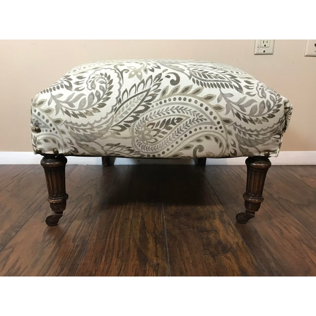 Reupholstered Antique Tan Ottoman For Sale - Image 4 of 6