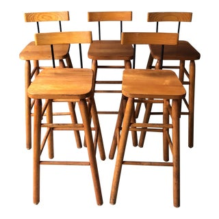1990s Mid-Century Modern Wood Bar Stools With Wrought Iron Accents - Set of 5 For Sale
