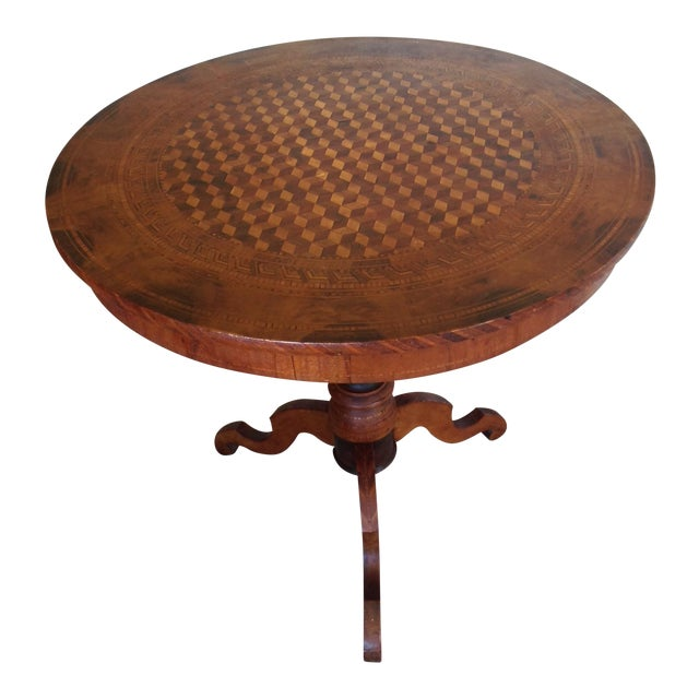 Intricately Detailed Parquet Antique Round Table - Image 1 of 11