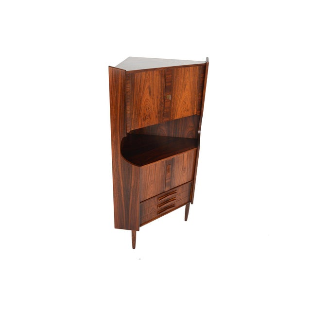 Danish Modern Rosewood Corner Bar - Image 6 of 9