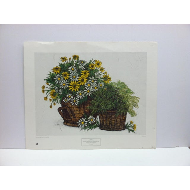 """1973 Vintage """"Yellow Daises and Marguerites"""" Ida Pellei New York Graphic Society Floral Print For Sale - Image 4 of 4"""