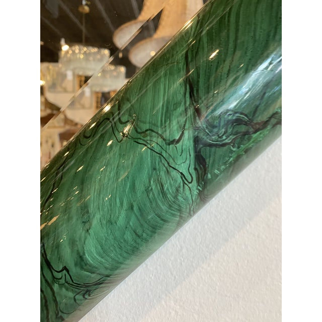 Vintage Large Green Faux Malachite Vertical or Horizontal Octagon Wall Mirror For Sale - Image 4 of 13