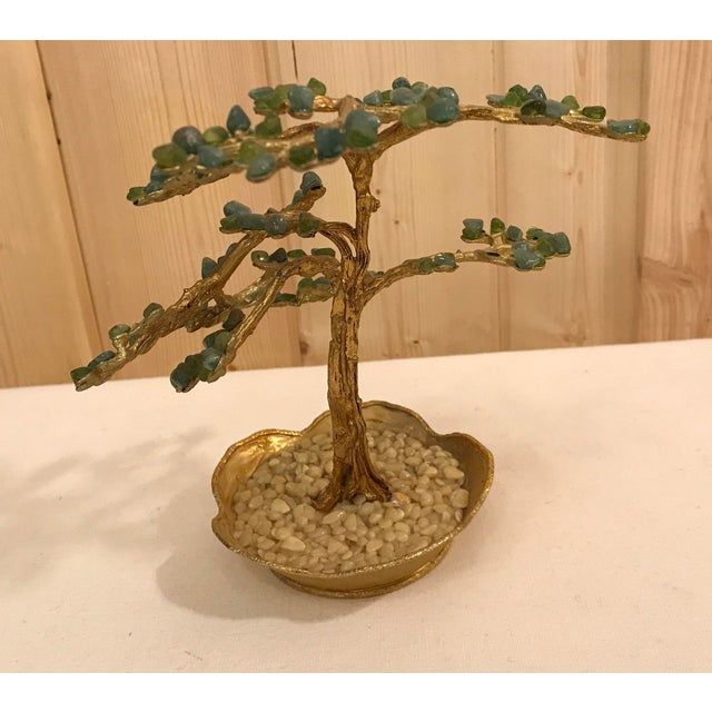 Mid-Century Modern Agate Bonsai Tree in Gold Dish - Image 6 of 10