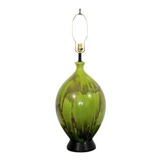 Mid Century Modern Green Ceramic Drip Glaze Table Lamp Brass Finial 1970s For Sale