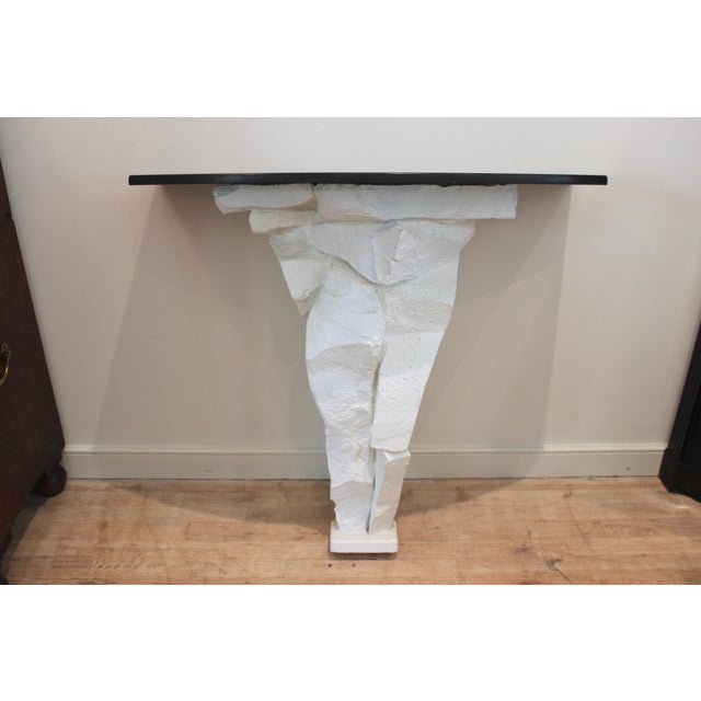 Brutalist white fiberglass console table with black honed stone top, Possibly Sirmos...