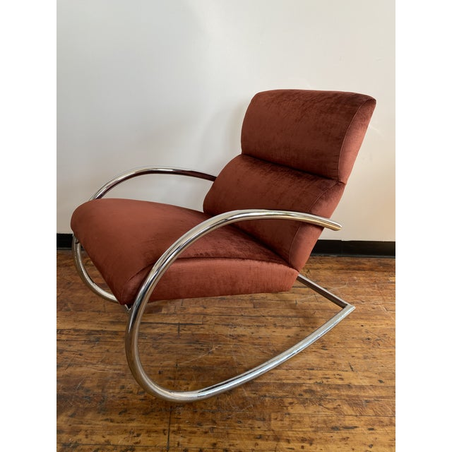 Mid Century Chrome Rocking Chair in Rust Velvet For Sale - Image 4 of 8