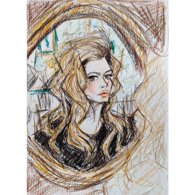 Illustration Color Pencil Potrait of 70s Icon Brigette Bardot on A4 Hahnemuhle Paper by Shirin Godhrawala, 2020 For Sale - Image 3 of 3