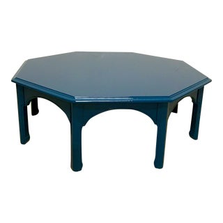 Peacock Blue Lacquered Cocktail Table