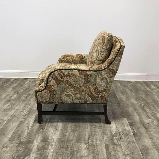 Hickory Chair Paisley Print Armchair and Ottoman - Image 3 of 4