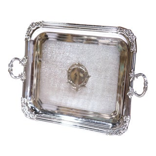 19th Century French Louis XVI Silver Plated Tray with Repousse Decor and Handles For Sale