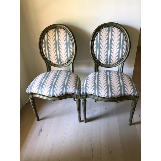 Green Vintage Louis XVI Side Chairs - a Pair For Sale - Image 8 of 8