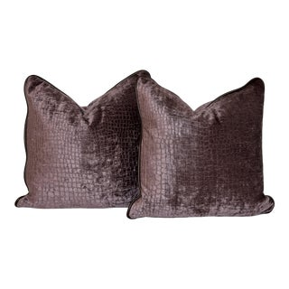 Leather Welted Velvet Pillows - A Pair For Sale